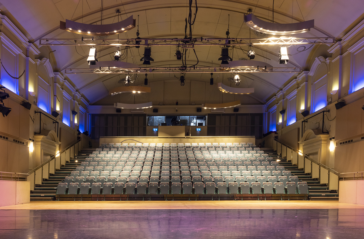 View of seating and lighting in main auditorium from stage
