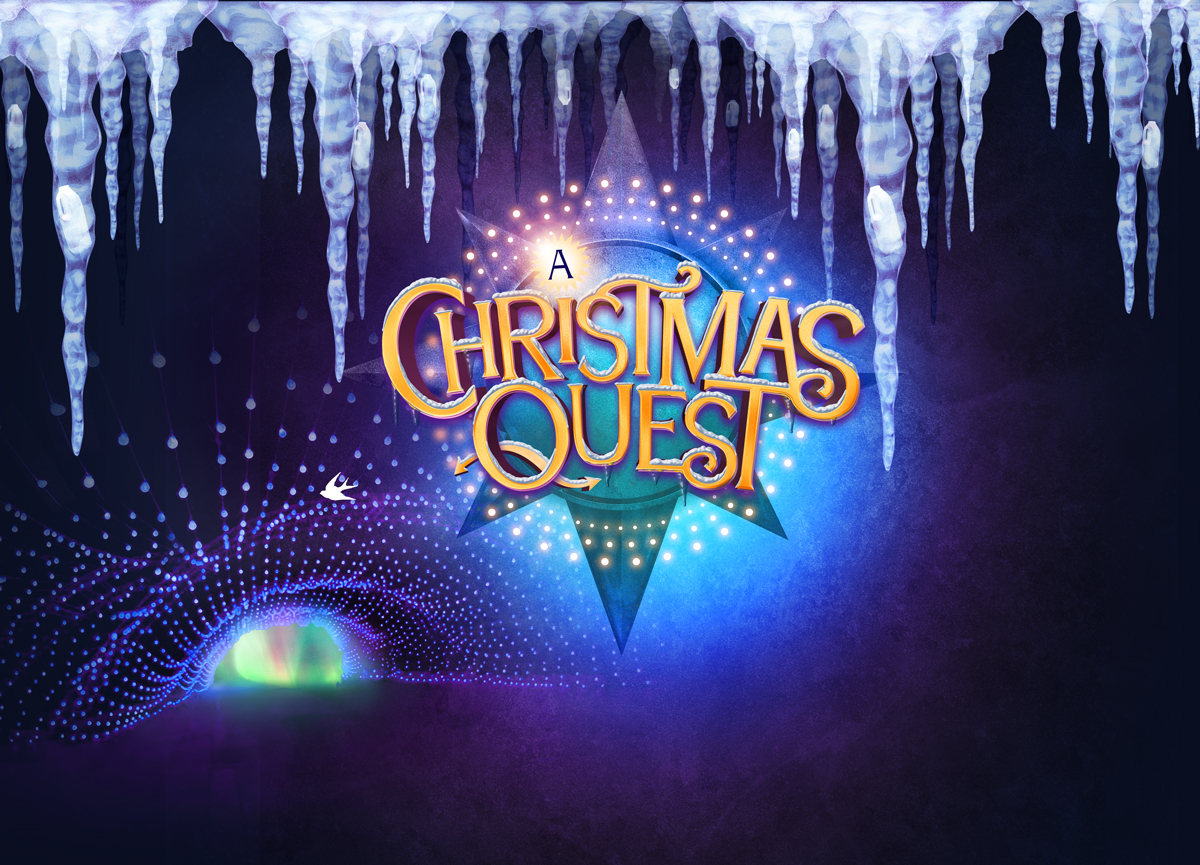 A Christmas Quest logo in yellow on a faded compass illustration with blue background and icicles at the top.